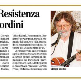 """Sull'Eco di Bergamo presentazione del concerto del 25 aprile """"Piccole Storie"""""""
