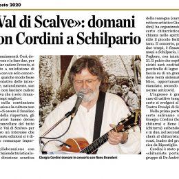 """Sull'Eco di Bergamo annuncio del concerto """"aspettando Acoustic Val di Scalve"""""""